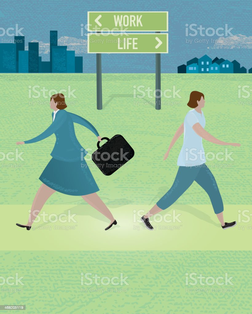 Work and lifestyle balance concept vector art illustration