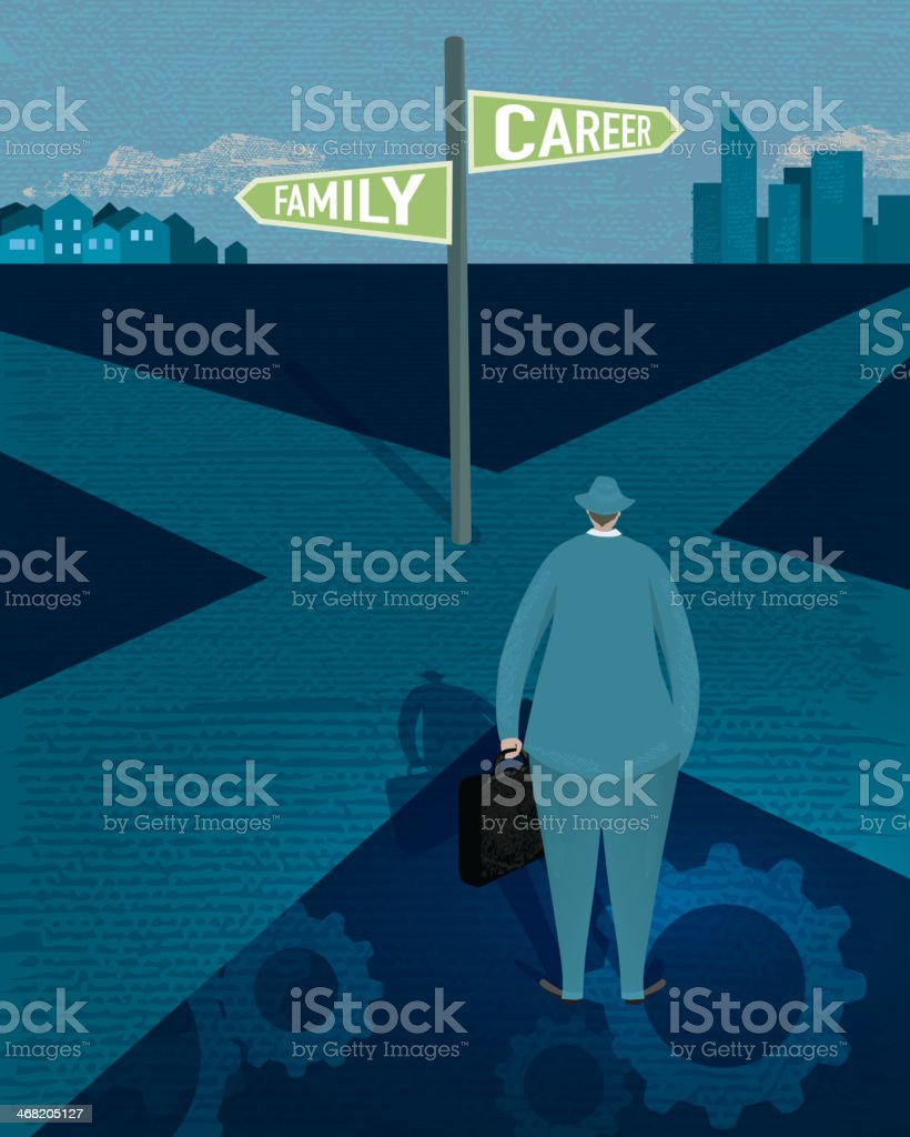 Work and lifestyle crossroads concept vector art illustration