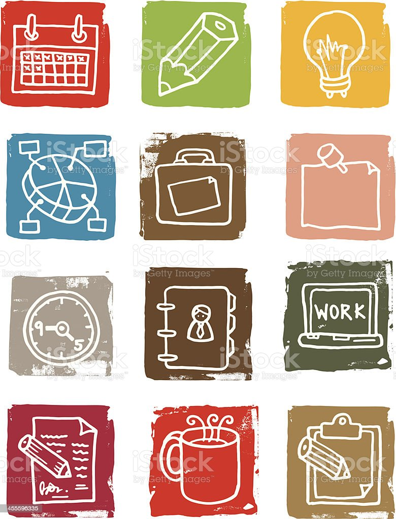 Work and office grunge block icons royalty-free stock vector art