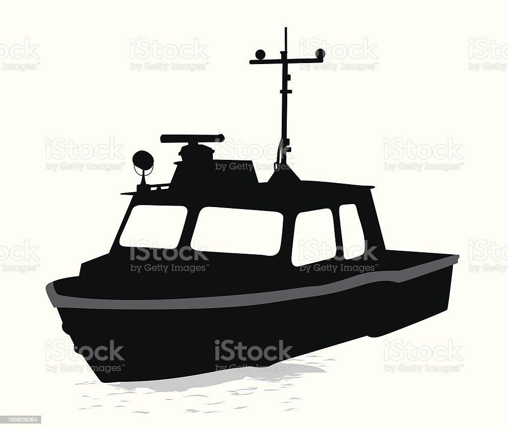 Work Boat Vector Silhouette vector art illustration