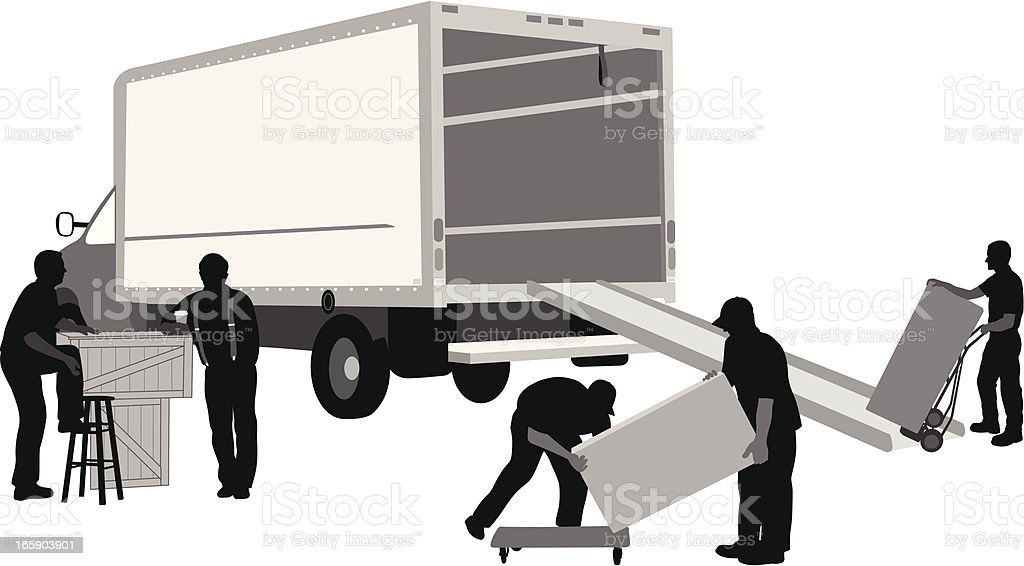 Work Crew Vector Silhouette vector art illustration