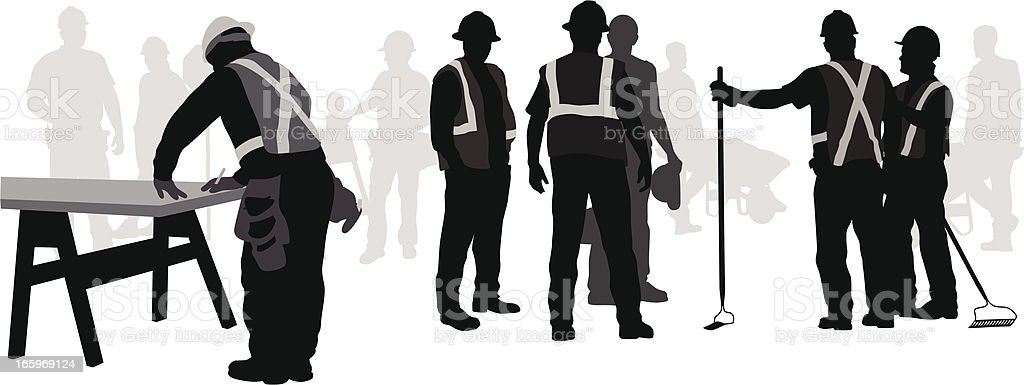 Work Crew Vector Silhouette vector art illustration