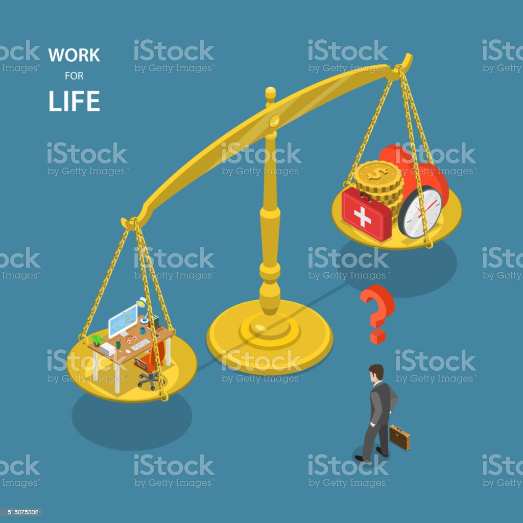 Work for life isometric flat vector illustration. vector art illustration
