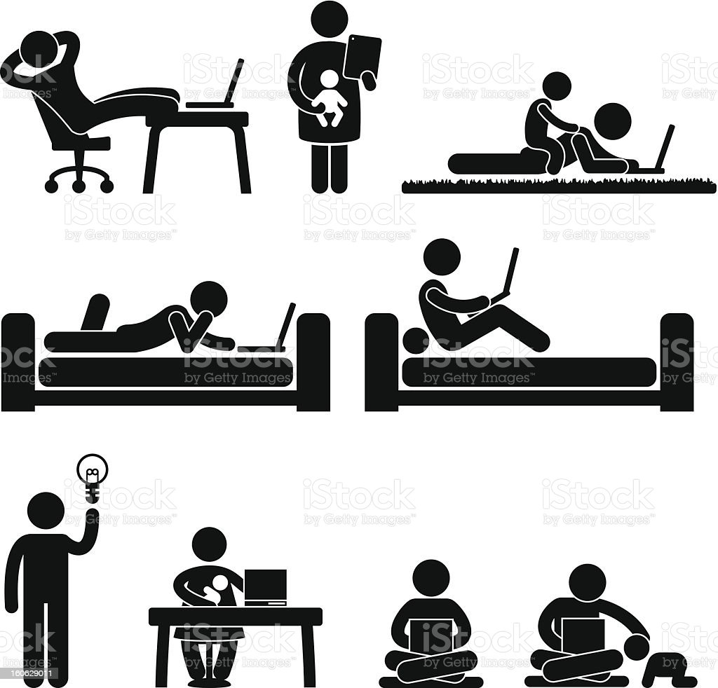 Work From Home Office Pictogram royalty-free stock vector art