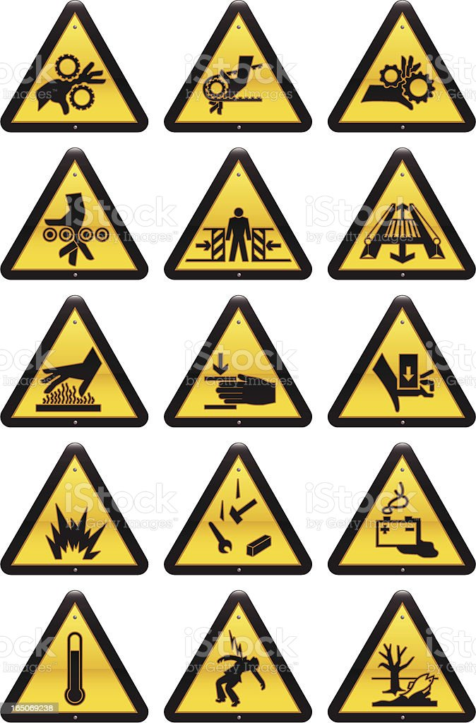 Work Hazard Signs vector art illustration