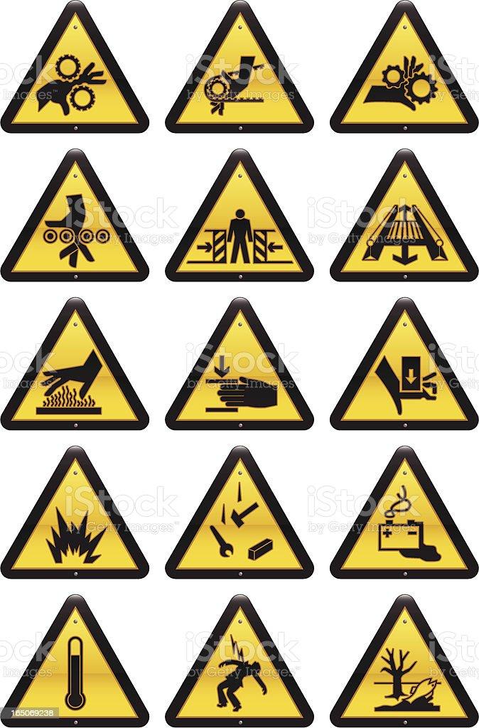 Work Hazard Signs vector art illustration