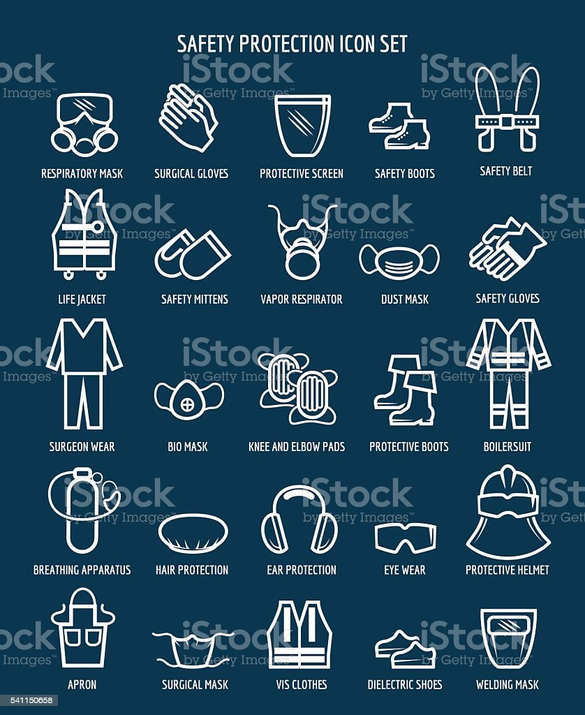 Work health and occupational safety icons vector art illustration