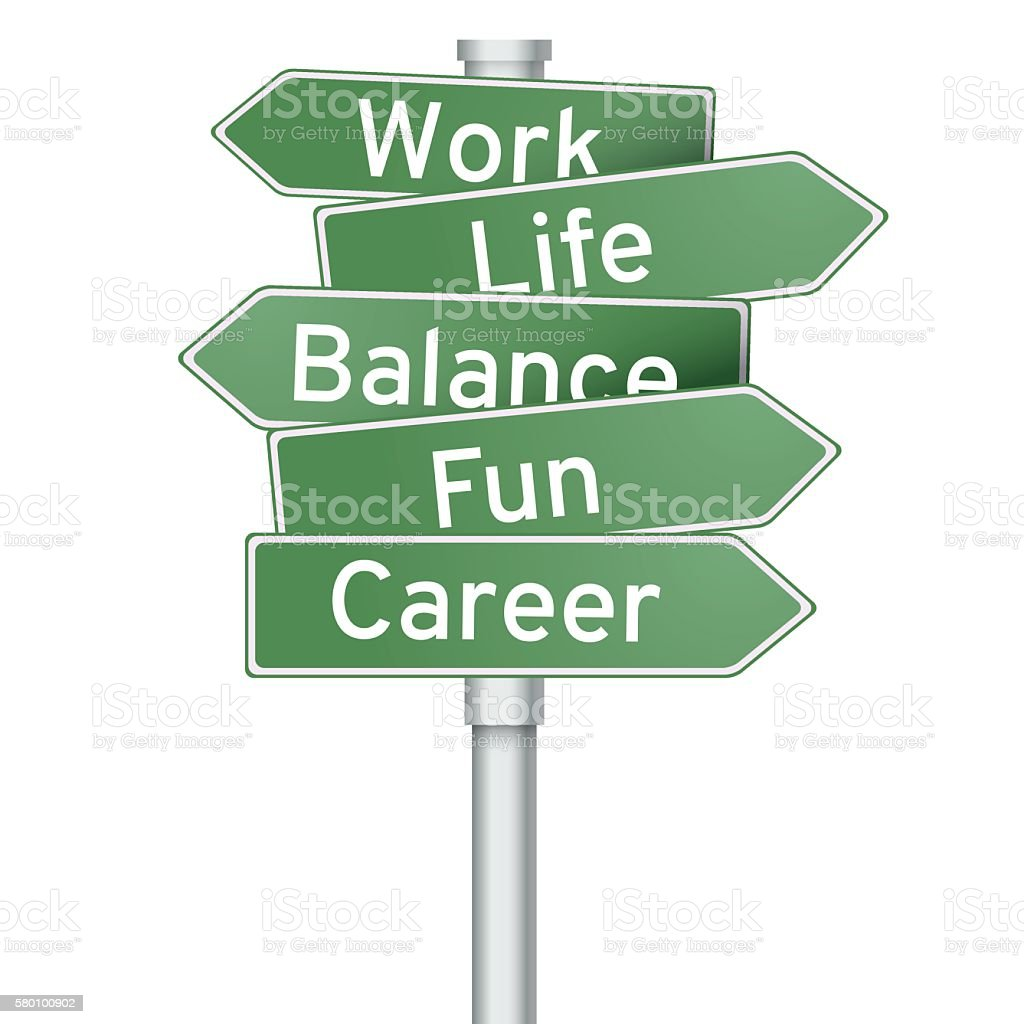 Work life balance road sign vector art illustration