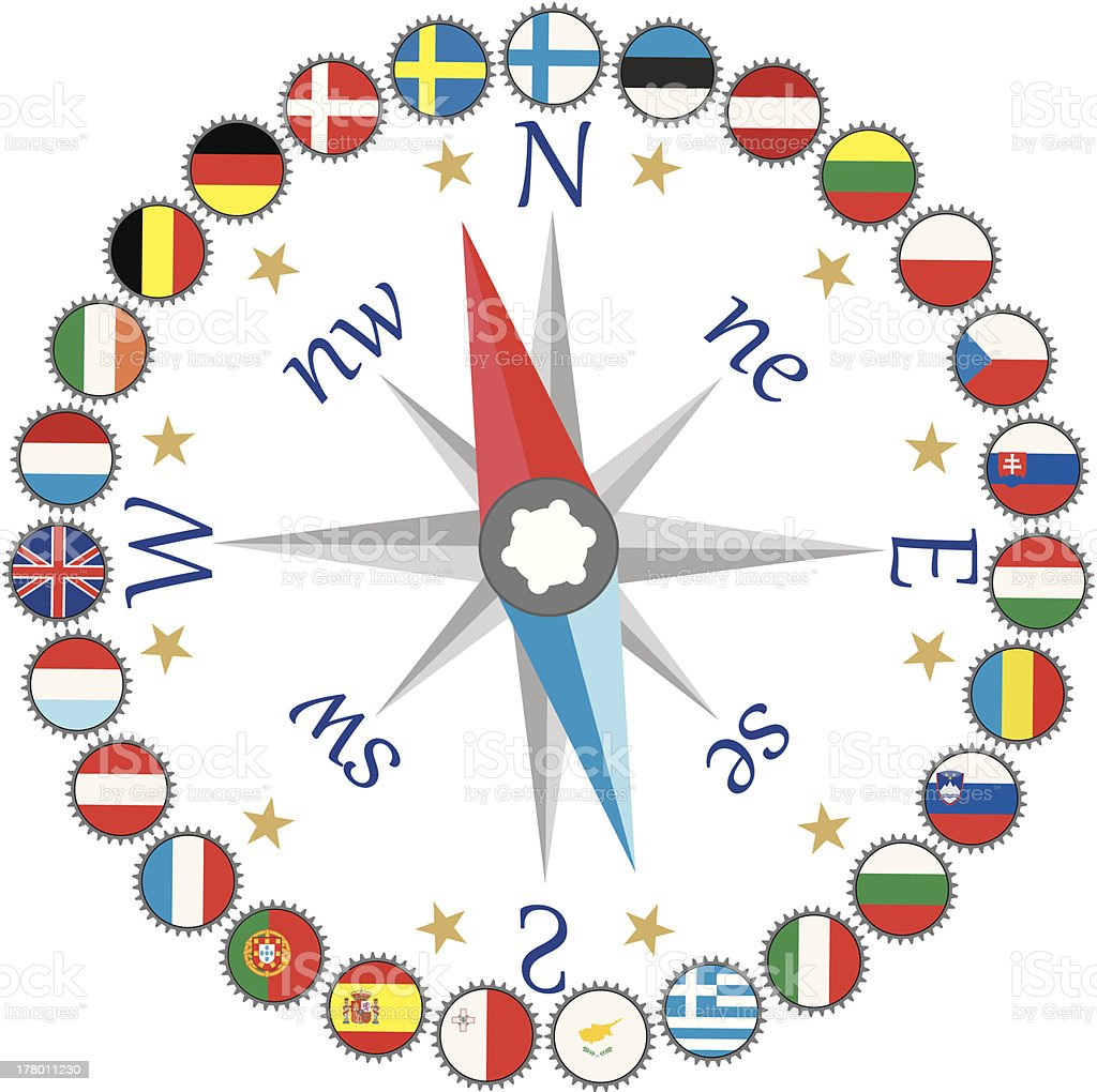 Work of EU against the compass. royalty-free stock vector art