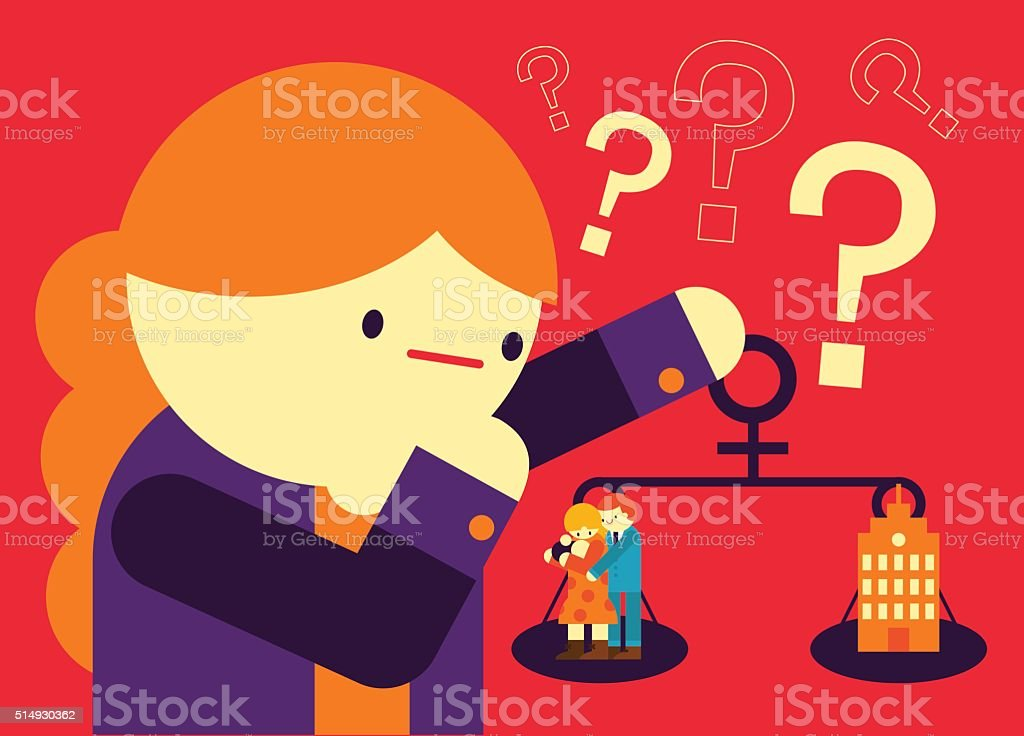 Work or Family vector art illustration