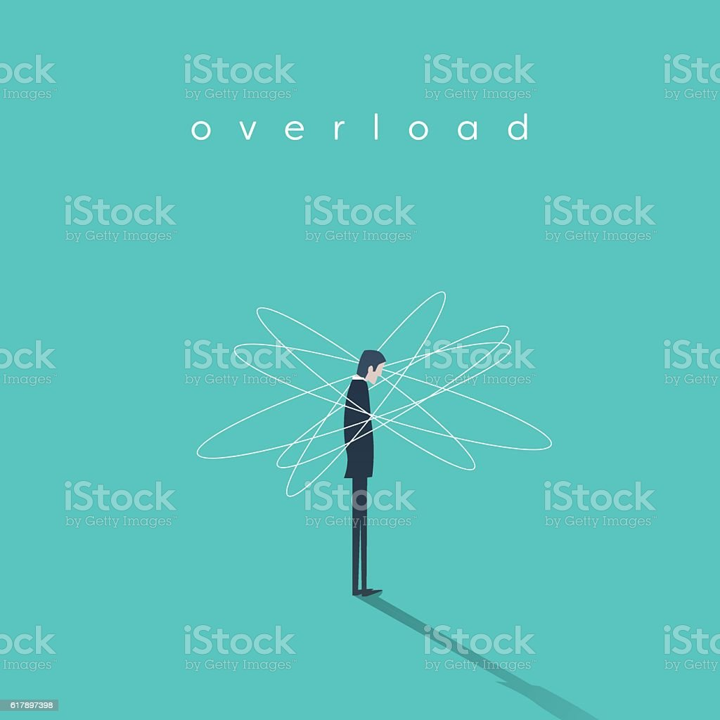 Work or job overload and stress vector concept with businessman vector art illustration