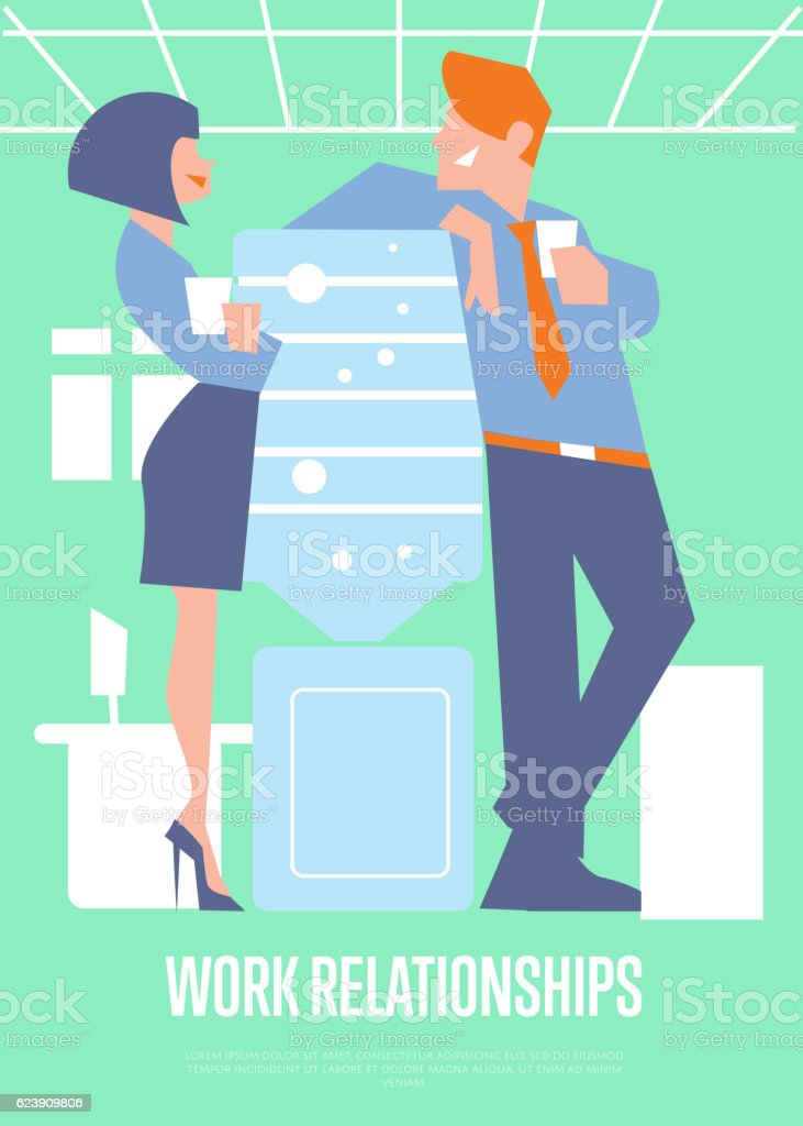 Work relationships banner with business people vector art illustration