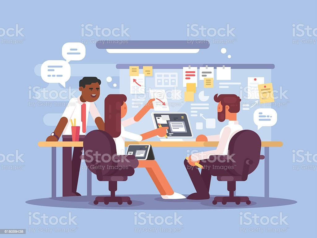 Work schedule, working environment vector art illustration