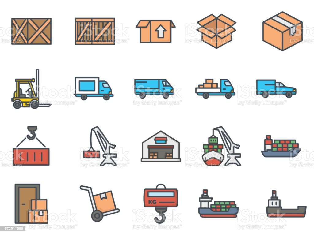 Work Service Colored Icon Delivery Shipping vector art illustration