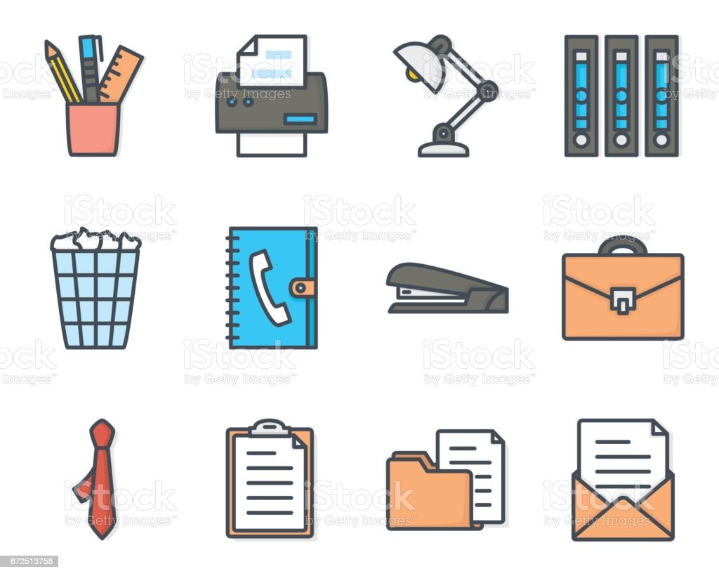 Work Service Colored Icon Office vector art illustration