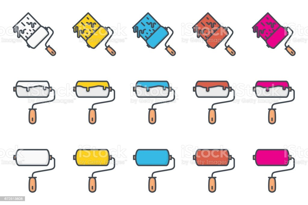 Work Service Colored Icon Renovation Paint Roller vector art illustration