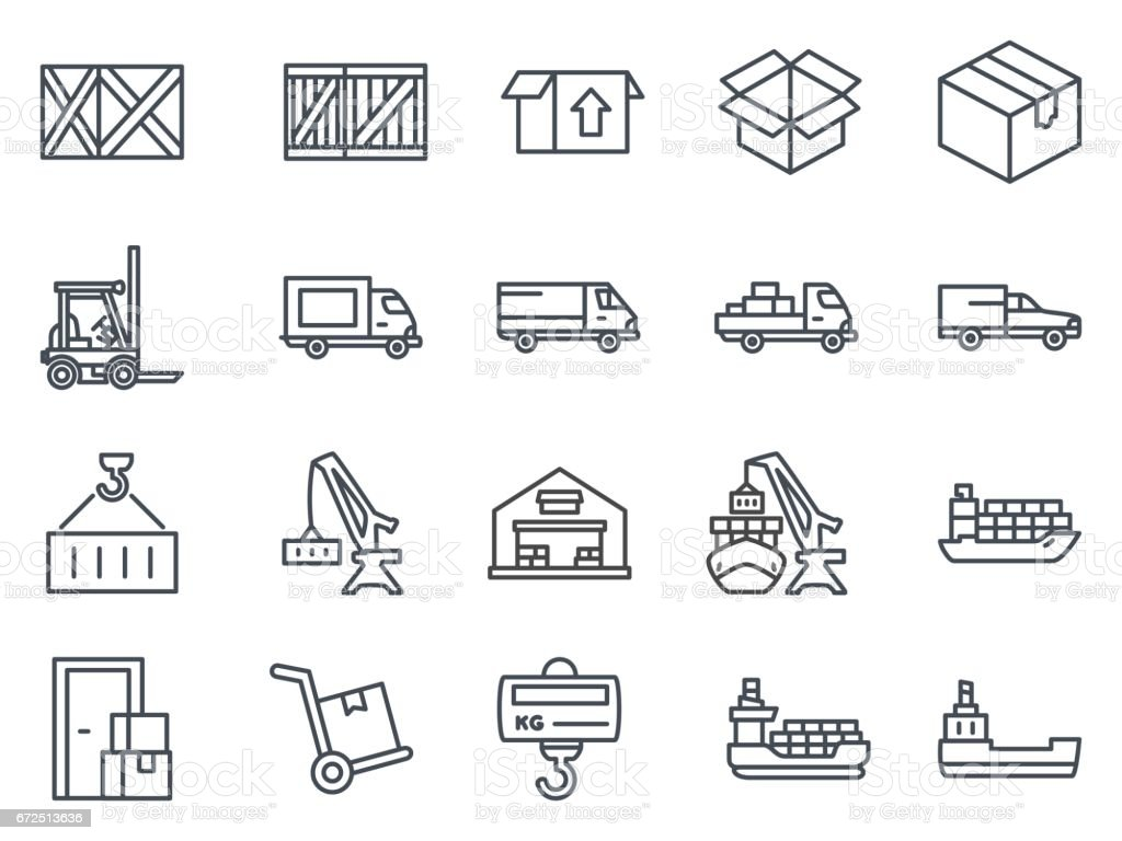 Work Service Line Icon Delivery Shipping vector art illustration