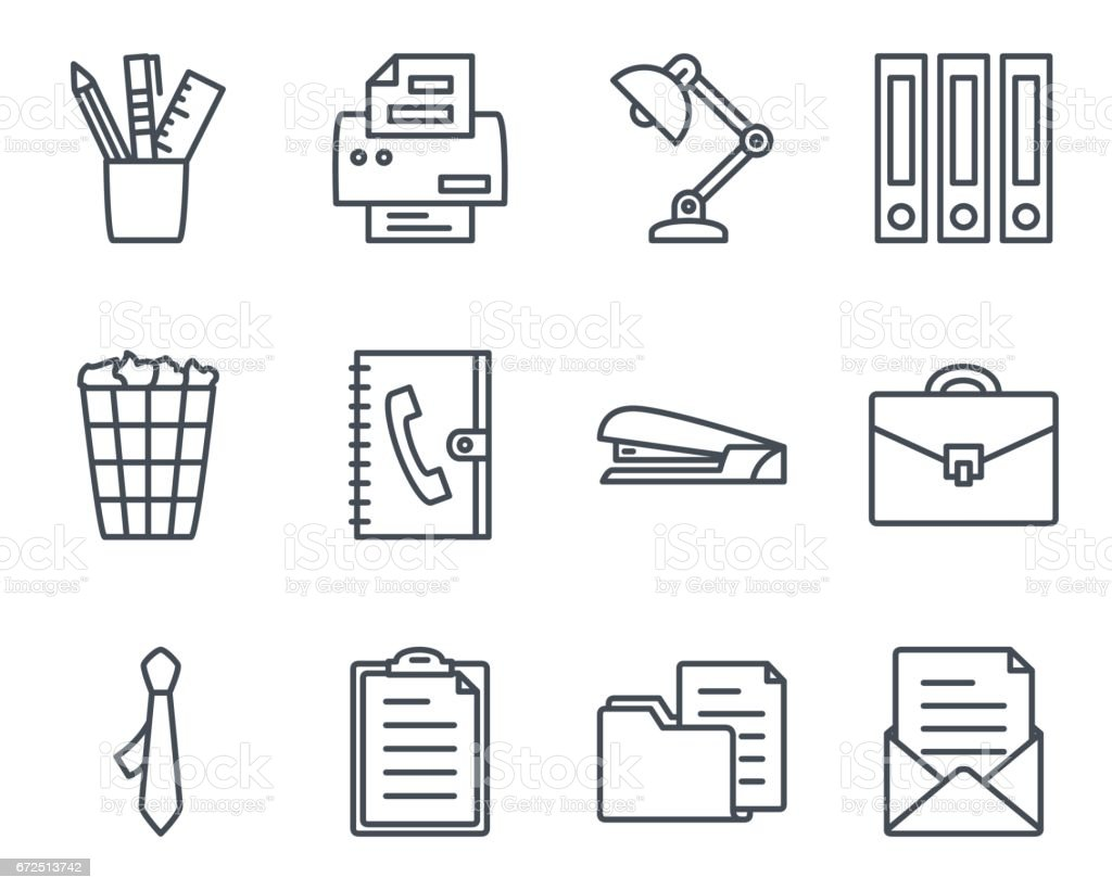 Work Service Line Icon Office vector art illustration