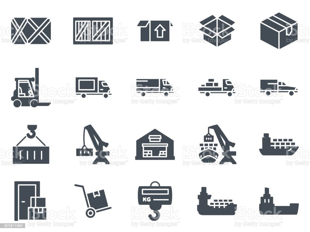 Work Service Silhouette Icon Delivery Shipping vector art illustration