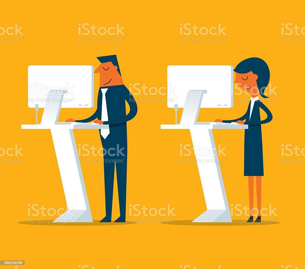 Work Standing vector art illustration