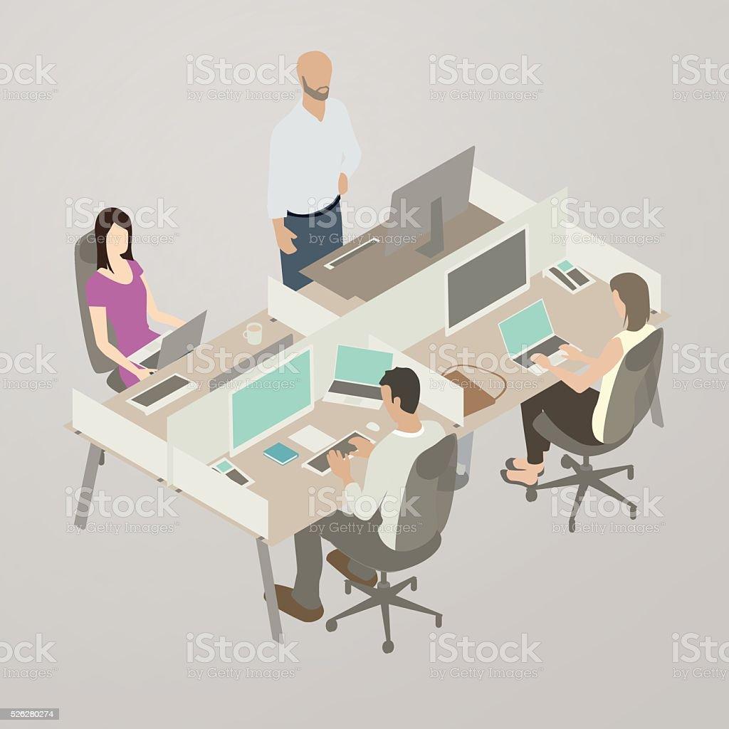 Work Team, Flat Style Illustration vector art illustration