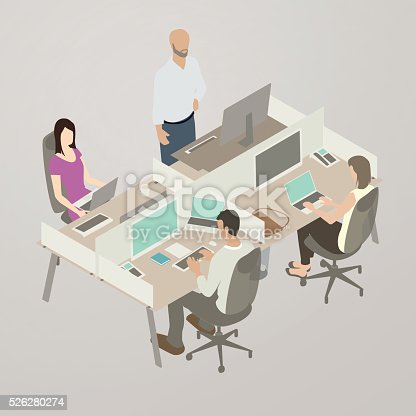 Team at cubicles illustration