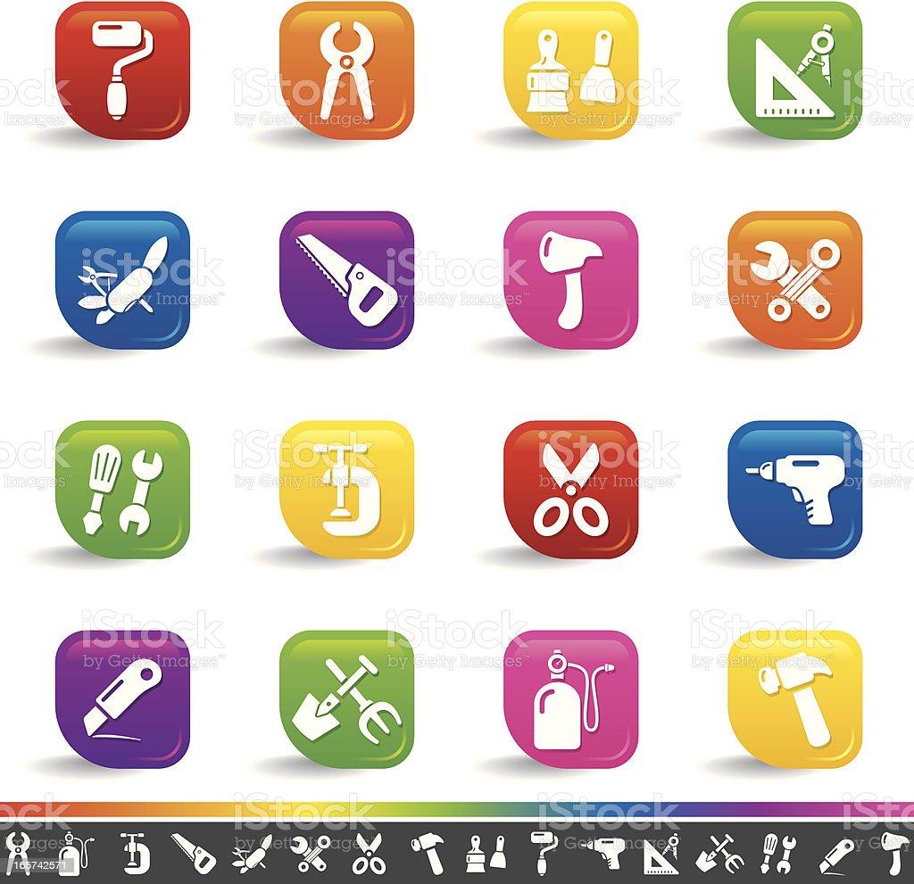 Work tool icons | Rainbow Series royalty-free stock vector art