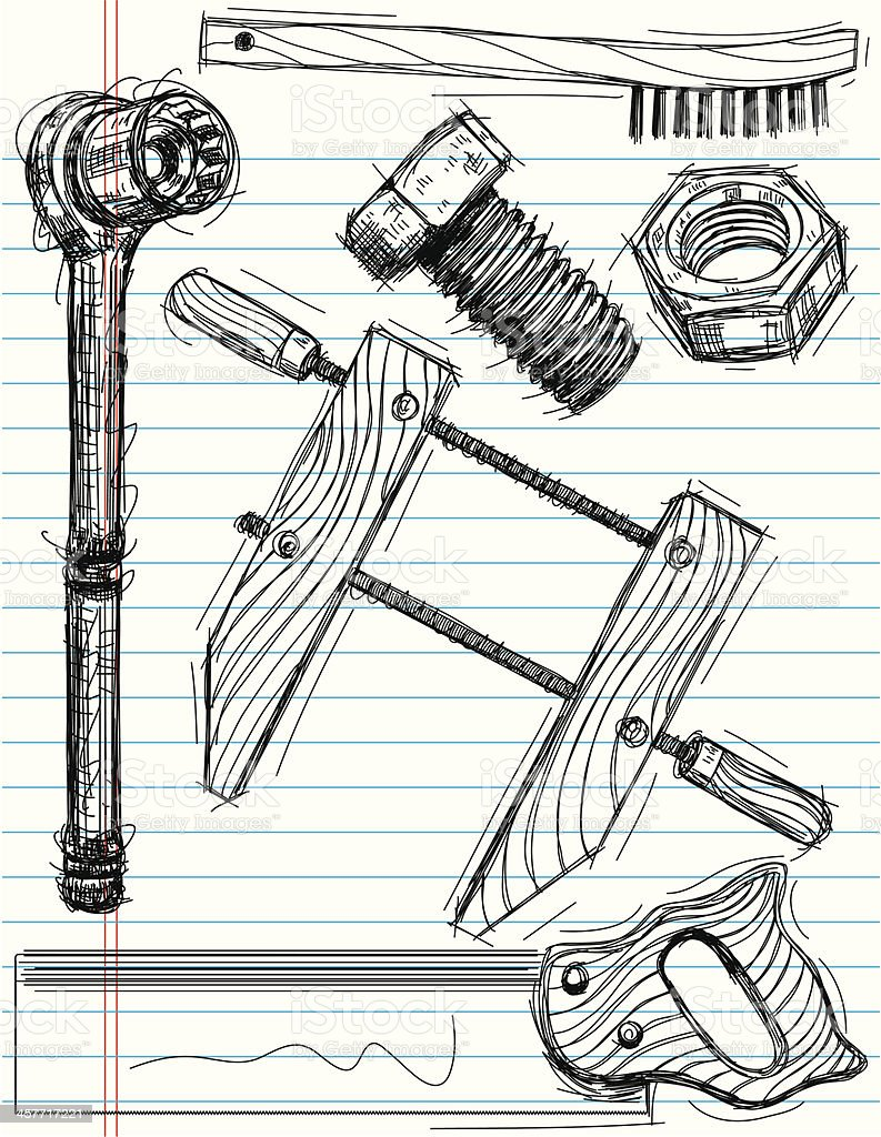 work tool sketches royalty-free stock vector art