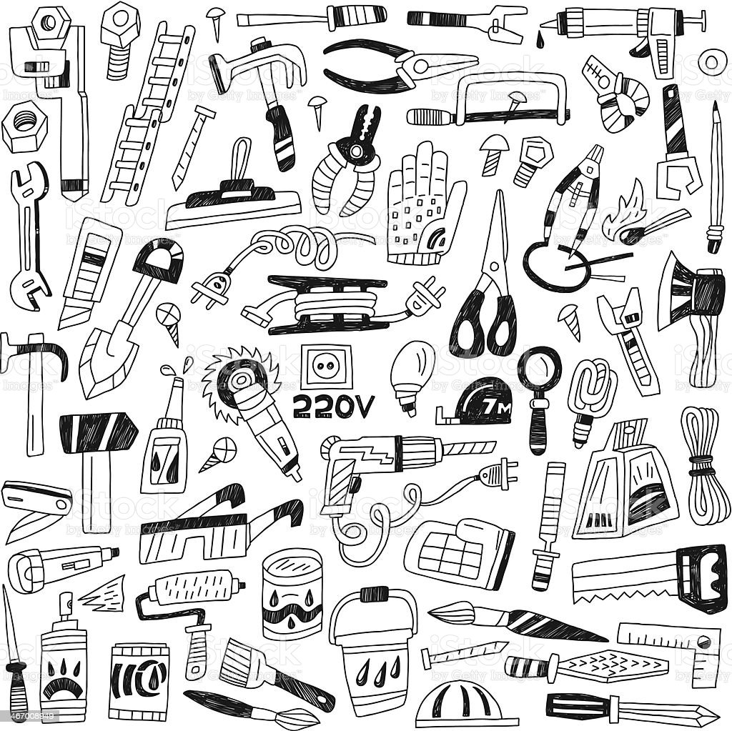work tools - doodles royalty-free stock vector art