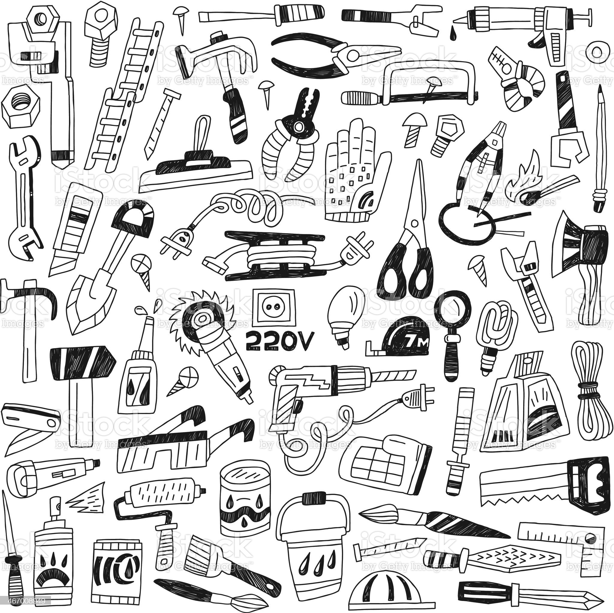work tools - doodles royalty-free stock vector art