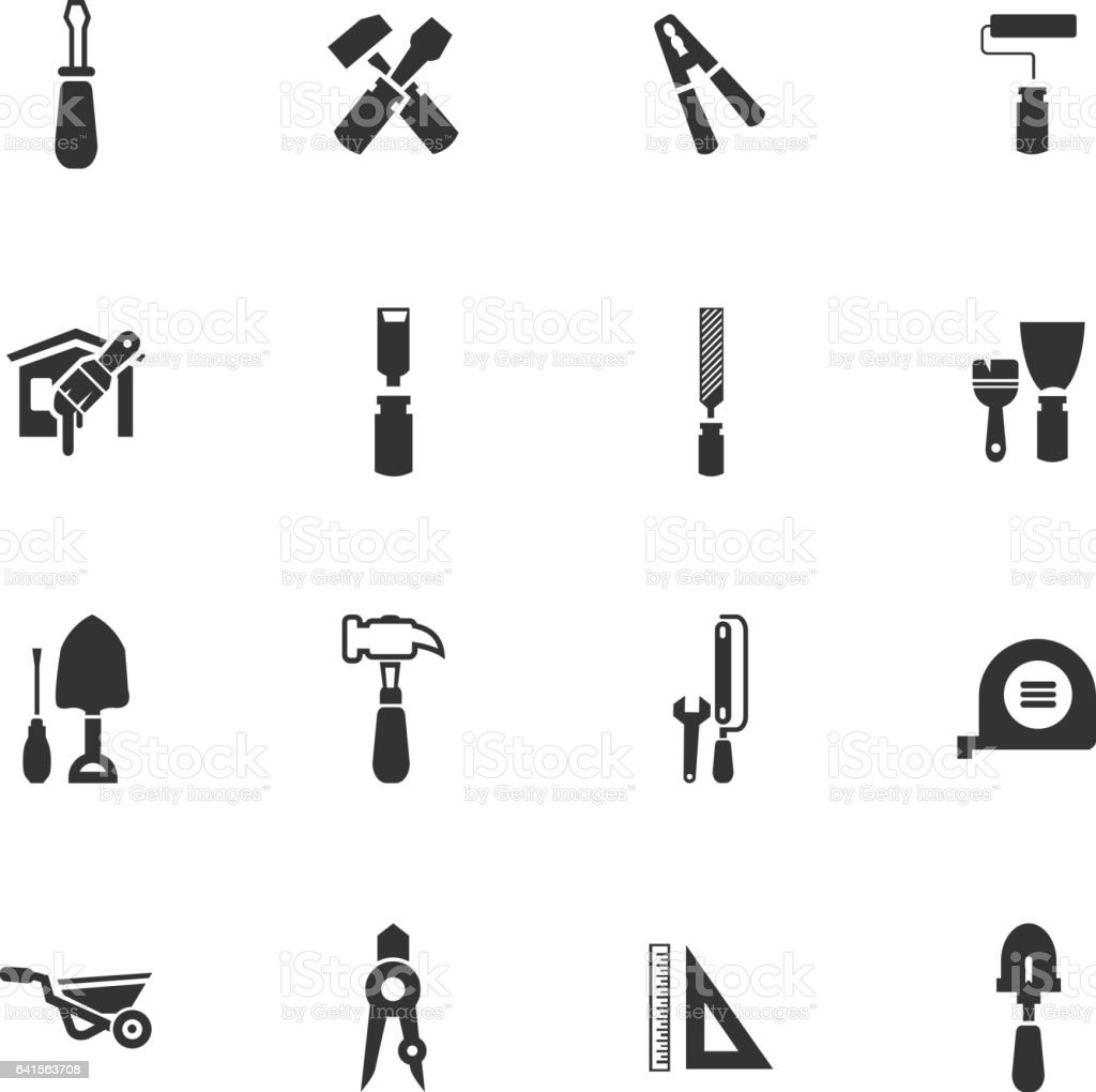 work tools icon set vector art illustration