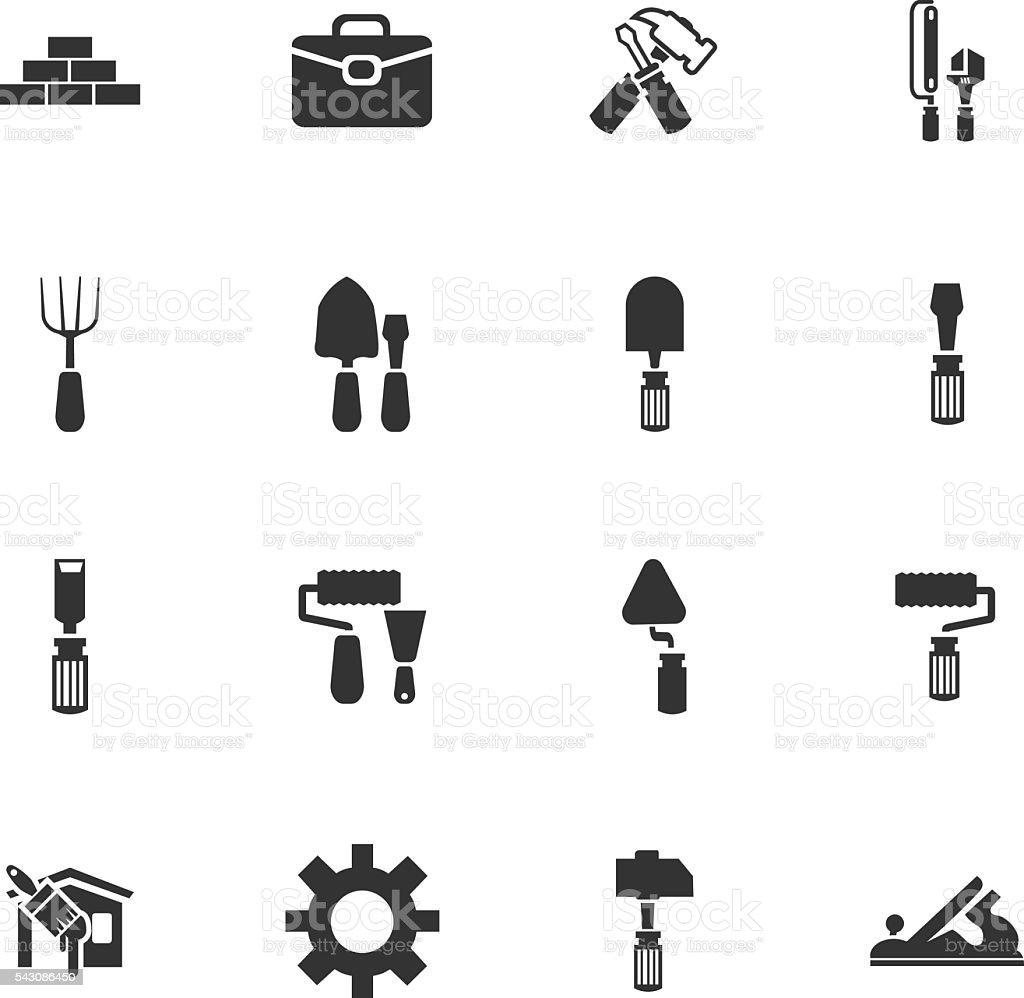 Work tools icons set vector art illustration