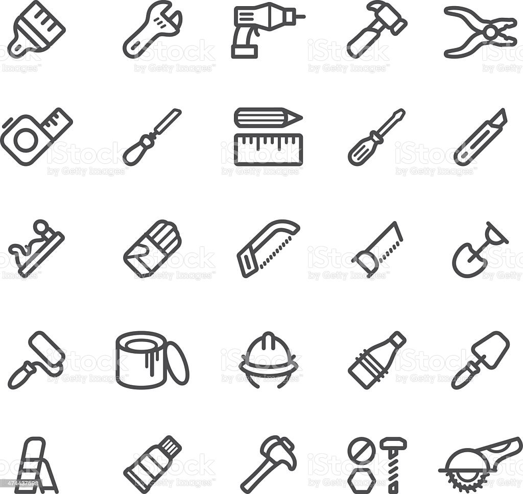 Work Tools Icons vector art illustration