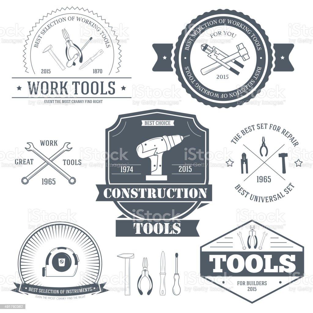 work tools set label template of emblem elements vector art illustration