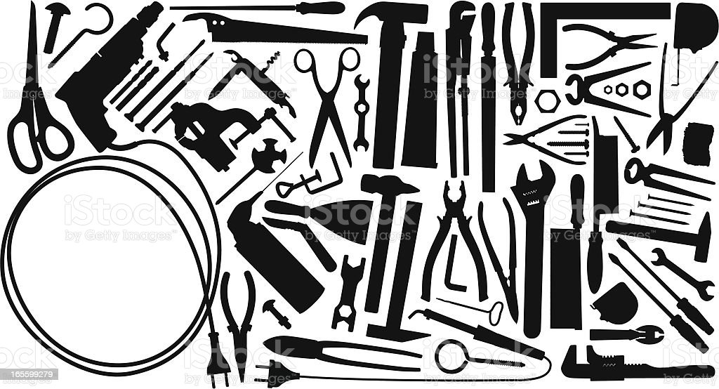 Work tools vector art illustration
