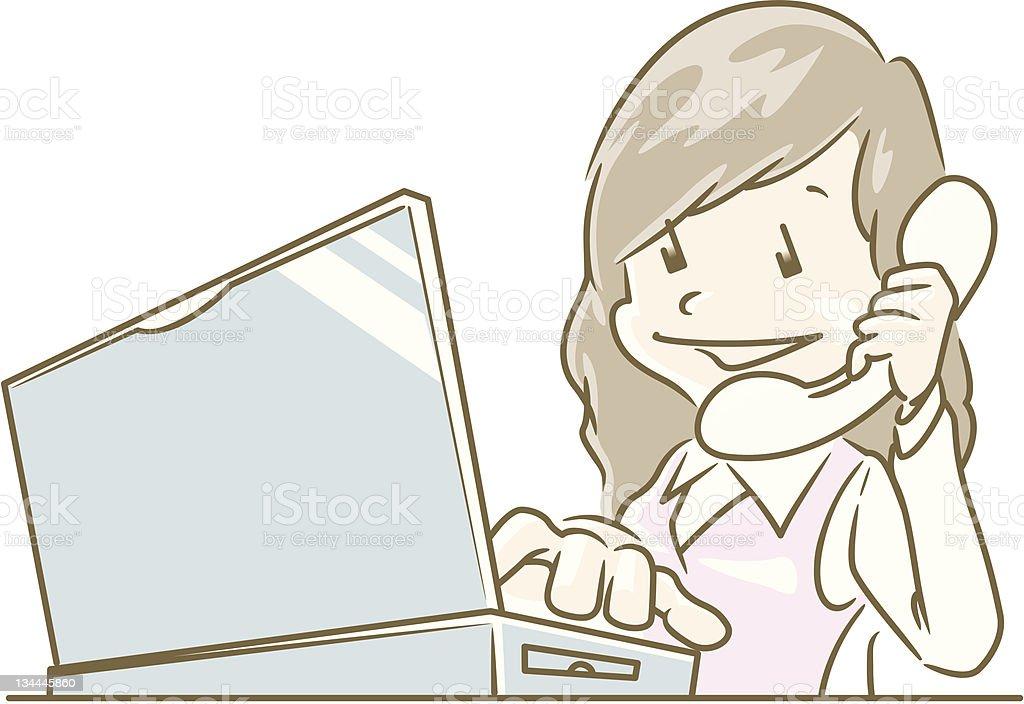 PC work_Woman royalty-free stock vector art