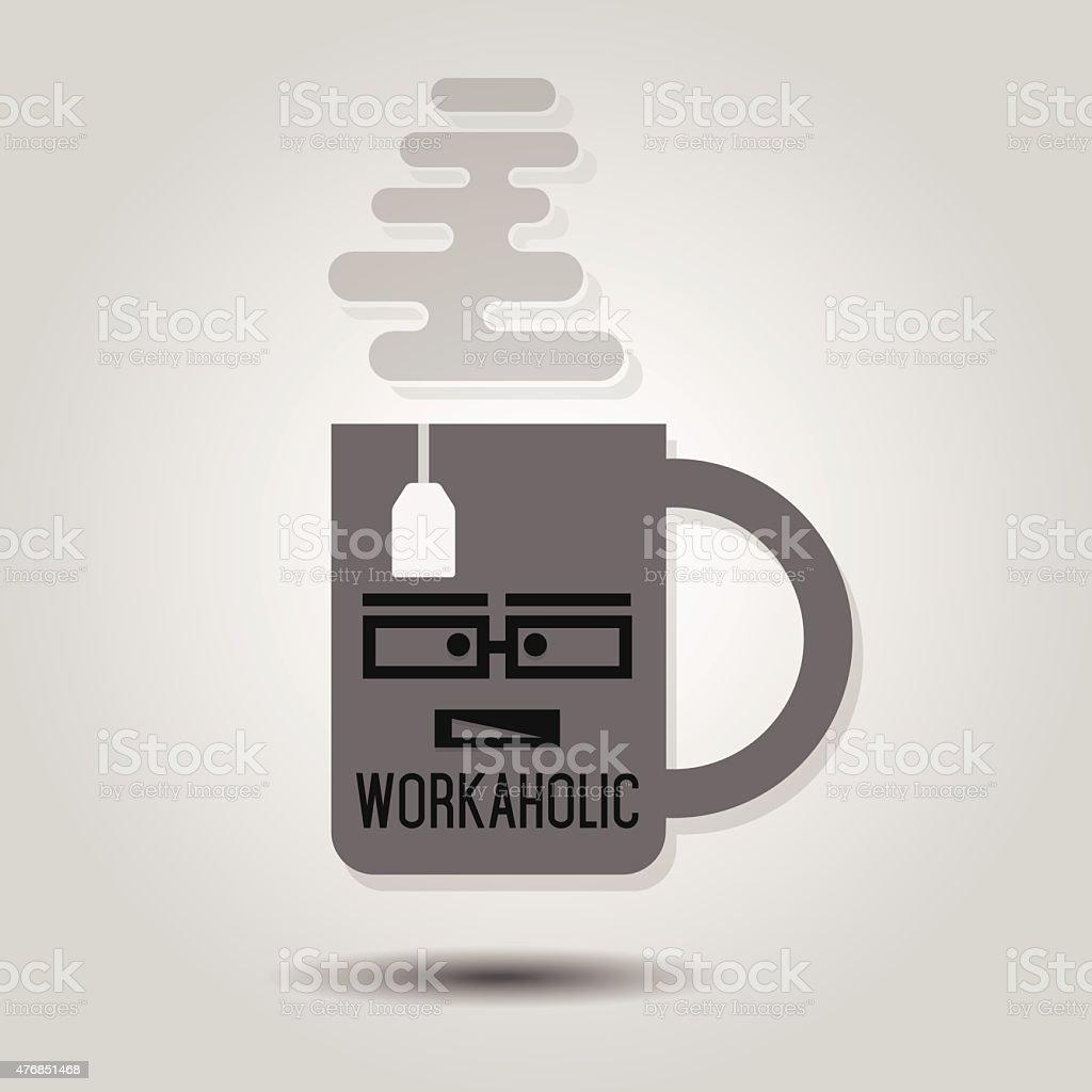 Workaholic Mug icon on gray gradient background vector art illustration