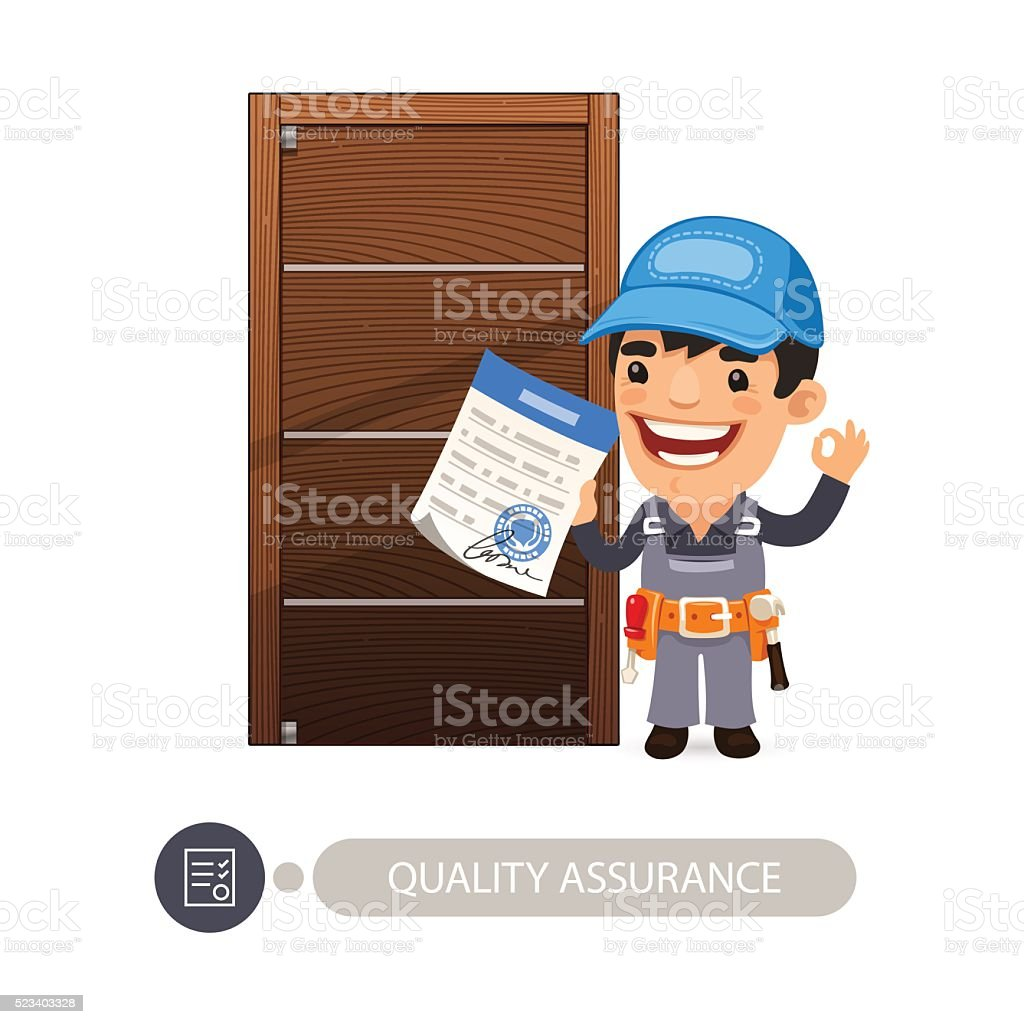 Worker and Door Quality Assurance vector art illustration