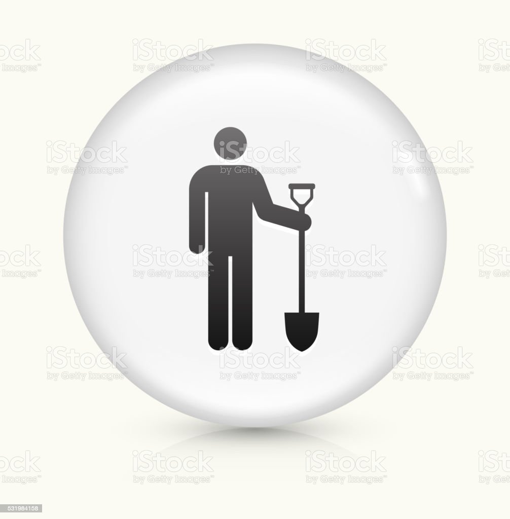 Worker and Shovel icon on white round vector button vector art illustration