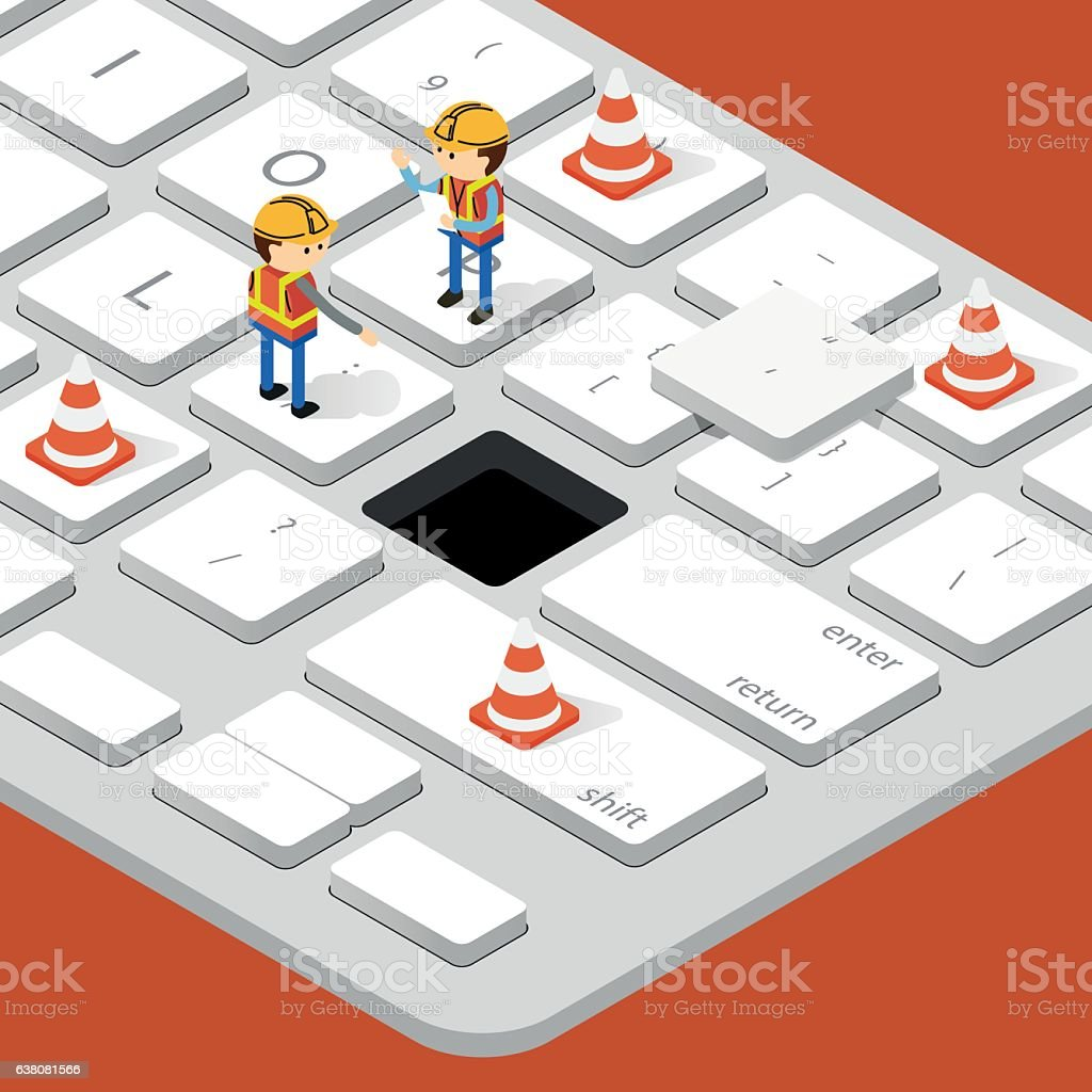 Worker and Under Construction on computer keyboard vector art illustration