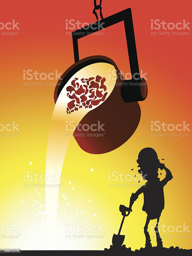 Worker checking the iron foundry royalty-free stock vector art