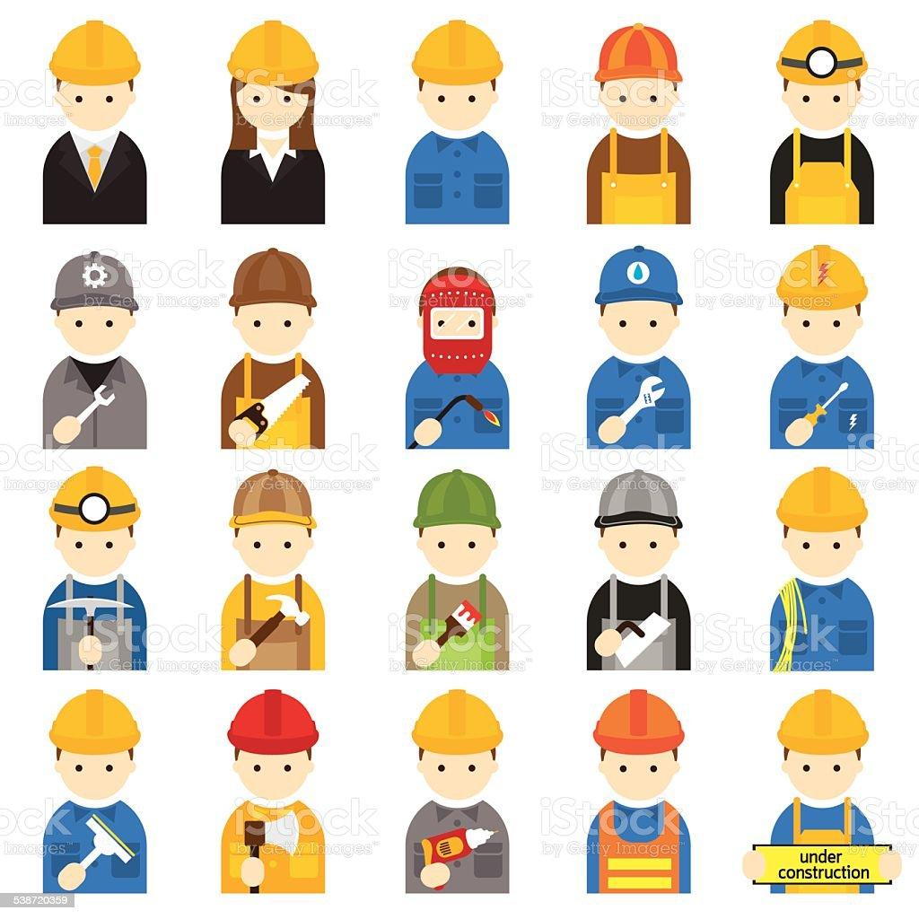 Worker, Craftsman, Symbol Icons Set vector art illustration