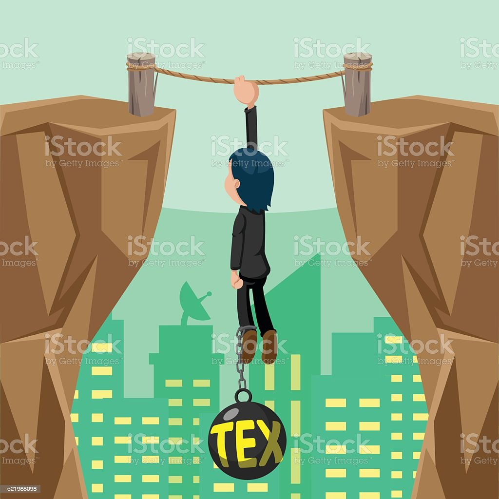Worker Danger Tax Cliff Pendulum Vector vector art illustration