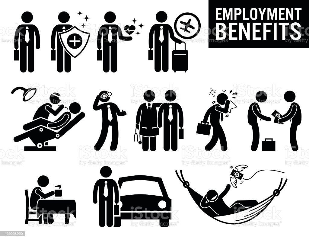 Worker Employment Job Benefits Stick Figure Pictogram Icons vector art illustration