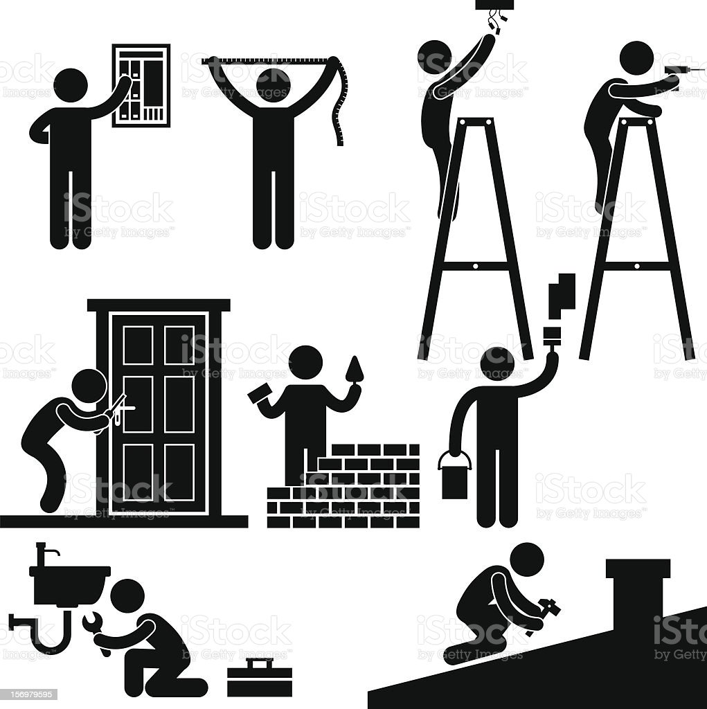 Worker Fixing Repairing Pictogram vector art illustration