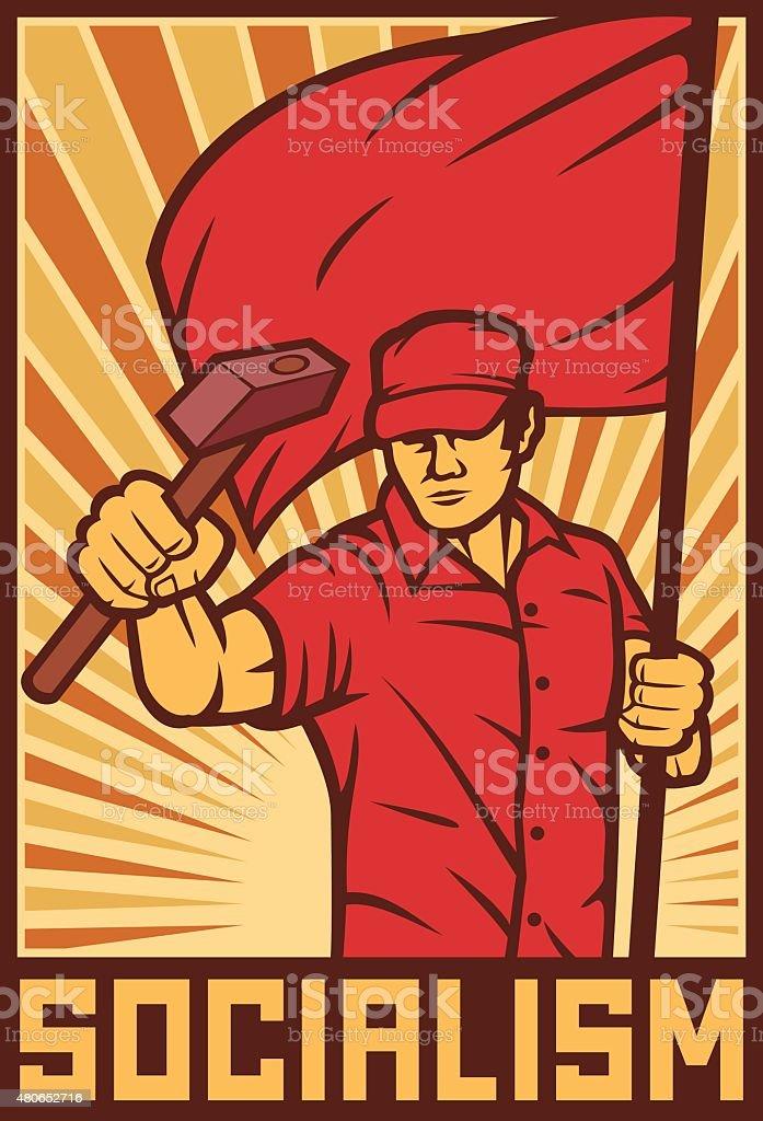 worker holding flag and hammer - industry poster vector art illustration