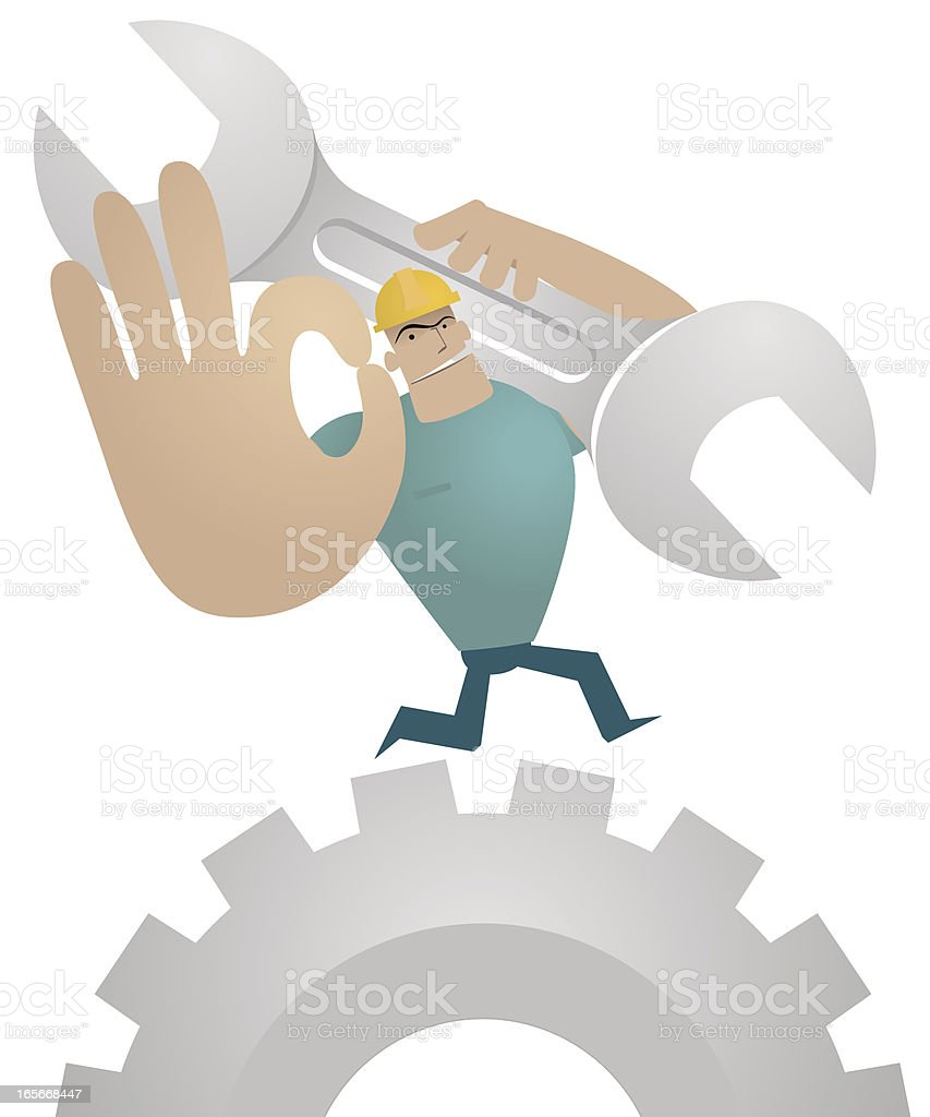 Worker holding Spanner and showing ok gesture on the gear royalty-free stock vector art