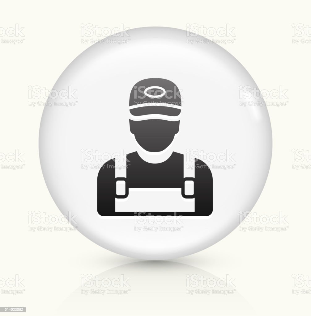 Worker icon on white round vector button vector art illustration
