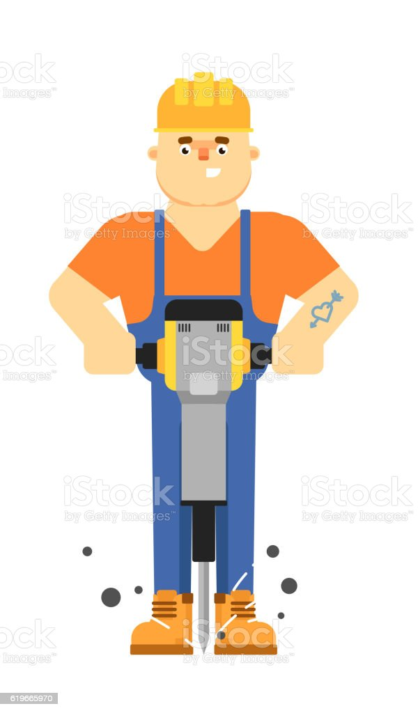 Worker in uniform isolated on white background vector art illustration