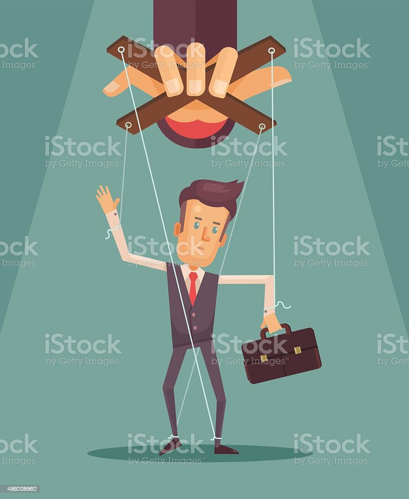 Worker marionette on ropes controlled boss hand vector art illustration